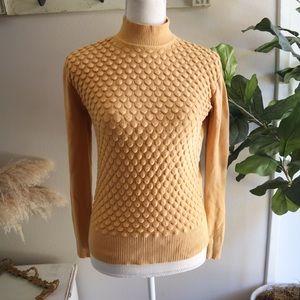 Retro vintage golden mustard turtle neck sweater